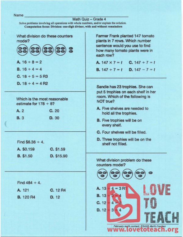 Division Quiz - With and Without Remainder - With Answers