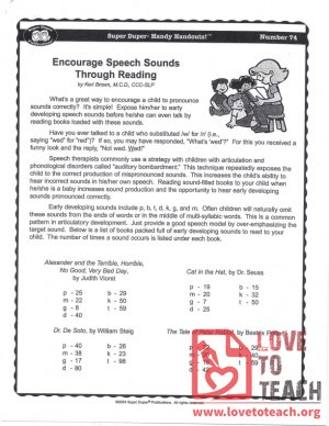 Handy Handouts - Encourage Speech Sounds Through Reading
