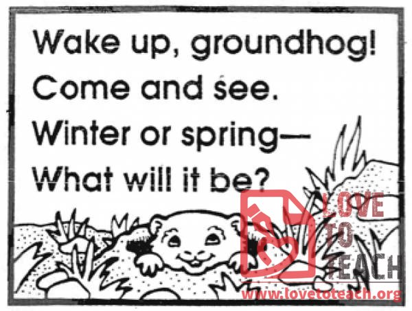 Groundhog Day Poem Lovetoteach Org