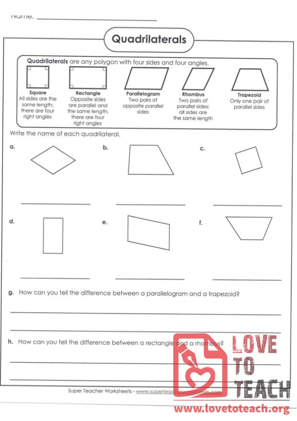 Quadrilaterals (with Answer Key)