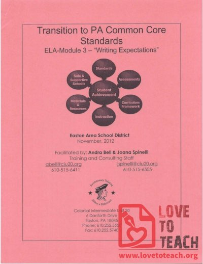 Transition to PA Common Core Standards - Writing Expectations