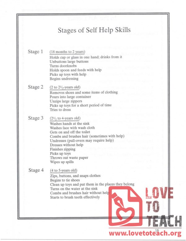 Stages of Self-Help Skills