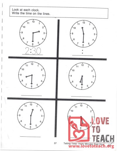 Telling Time - Thirty Minutes Past Hour