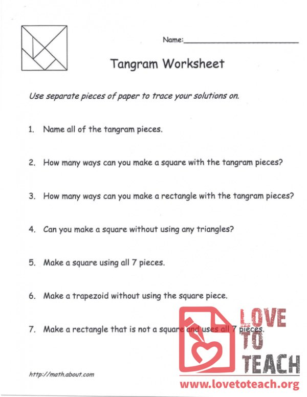 Tangram Worksheet - with 5 Patterns