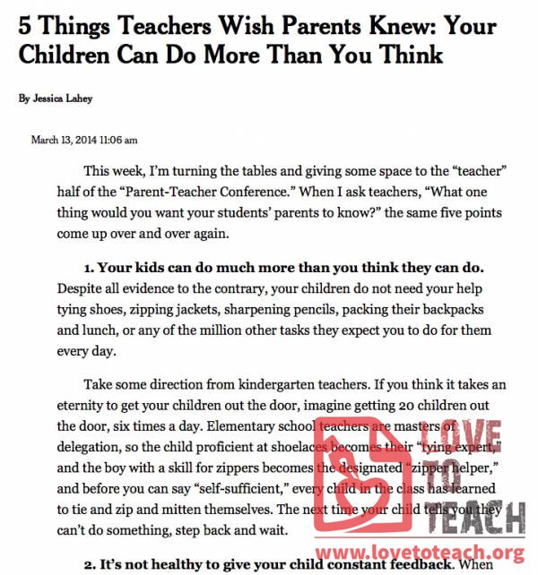 5 Things Teachers Wish Parents Knew