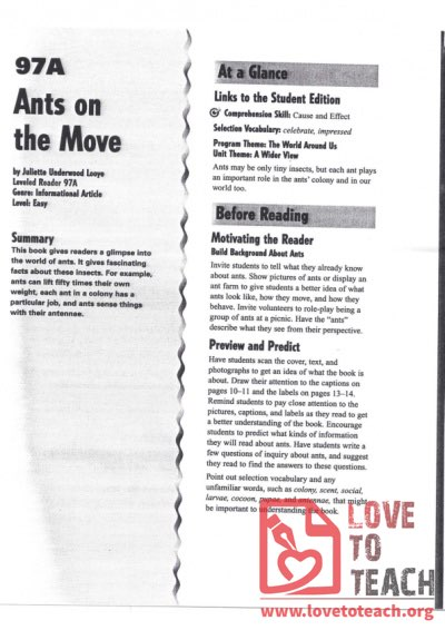 Ants on the Move - Reading Guide