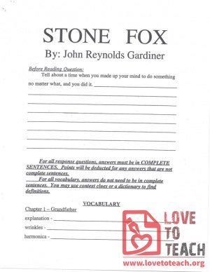 Stone Fox Vocabulary and Response Questions