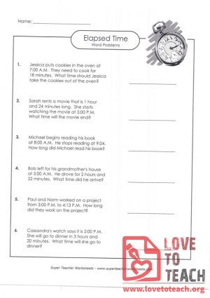 Elapsed Time Word Problems (A) (with Answer Key)