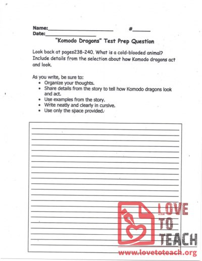 """Komodo Dragons"" - Test Prep Question"