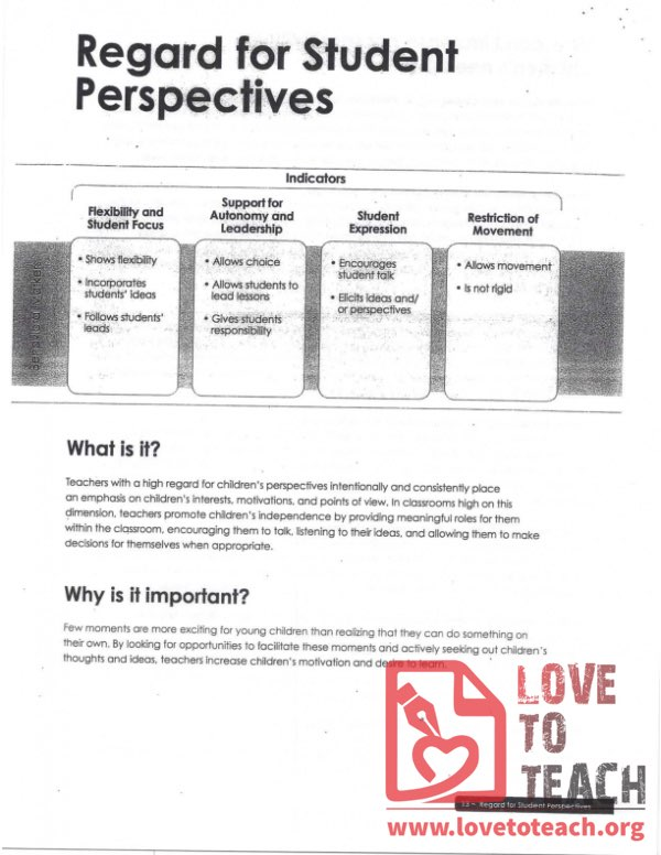 Dimensions - Regard for Student Perspective