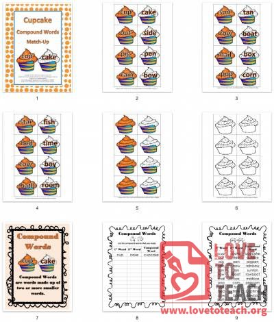 Cupcake Compound Words Match Up