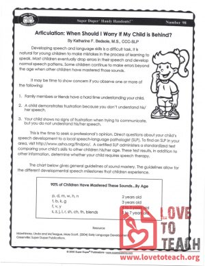 Handy Handouts - Articulation - When Should I Worry If My Child Is Behind?