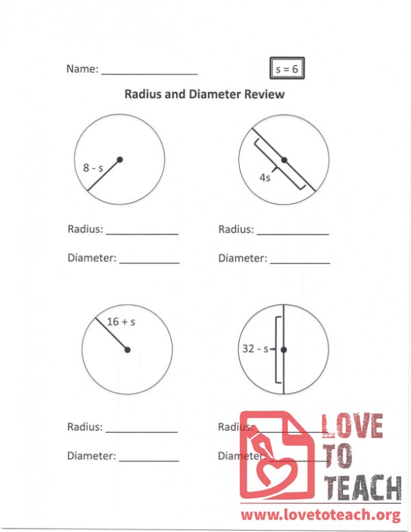 Radius and Diameter Review (A) With Answers