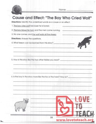 Cause and Effect - The Boy who Cried Wolf