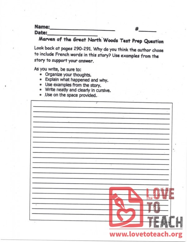 Marven of the Great North Woods - Test Prep Question