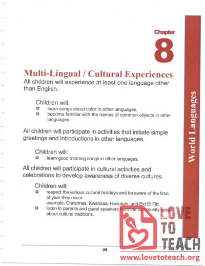 Preschool Curriculum Handbook - Multi-lingual Cultural Experiences