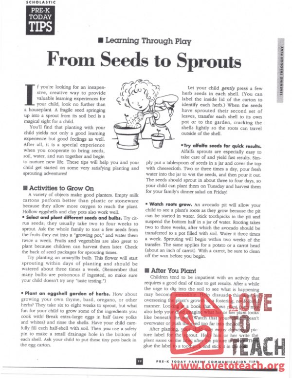 From Seeds to Sprouts