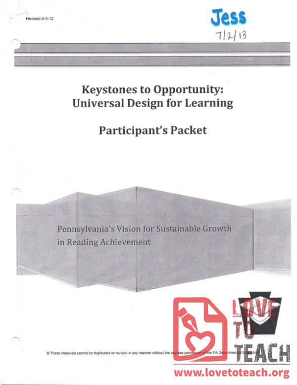 Keystones to Opportunity - Participant's Packet - Universal Design for Learning
