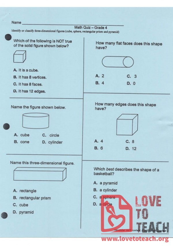 Solids and Shapes Quiz (with Answer Key)