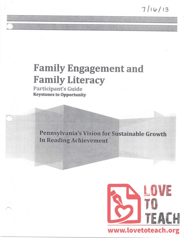 Keystones to Opportunity - Participant's Guide - Family Engagement and Family Literacy