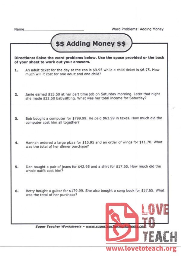 Adding Money - Word Problems (with Answer Key)