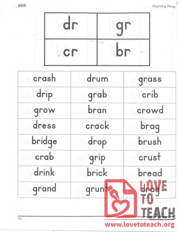 Beginning Blends - dr, gr, cr, br