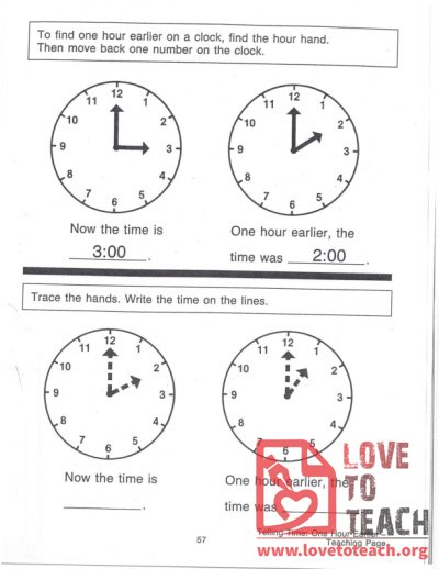 Telling Time - One Hour Earlier - Teaching Page