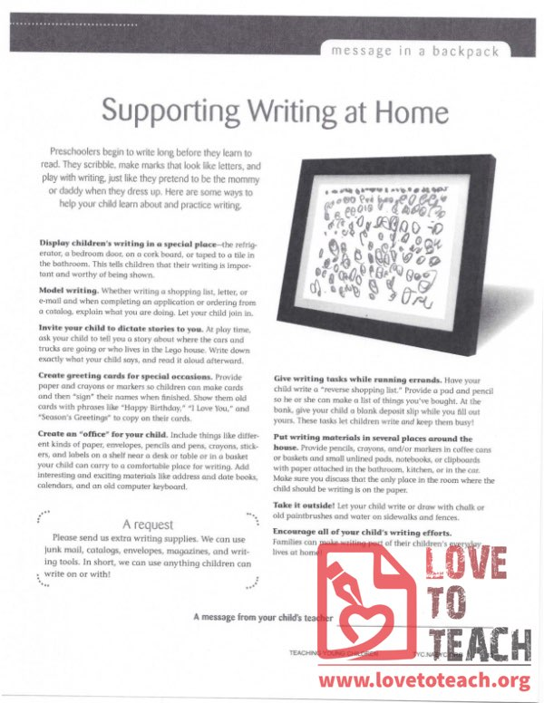 Message in a Backpack - Supporting Writing at Home