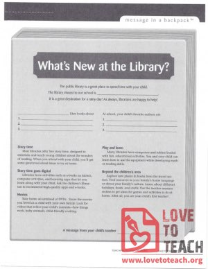 Message in a Backpack - What's New at the Library?