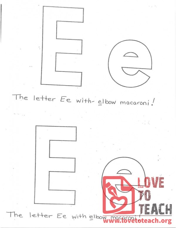 The Letter E (with elbow macaroni!)