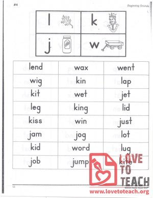 Beginning Sounds - L, K, J, W