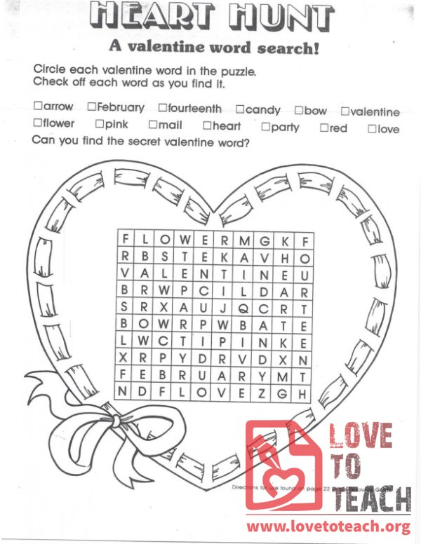 Heart Hunt - A Valentine Word Search