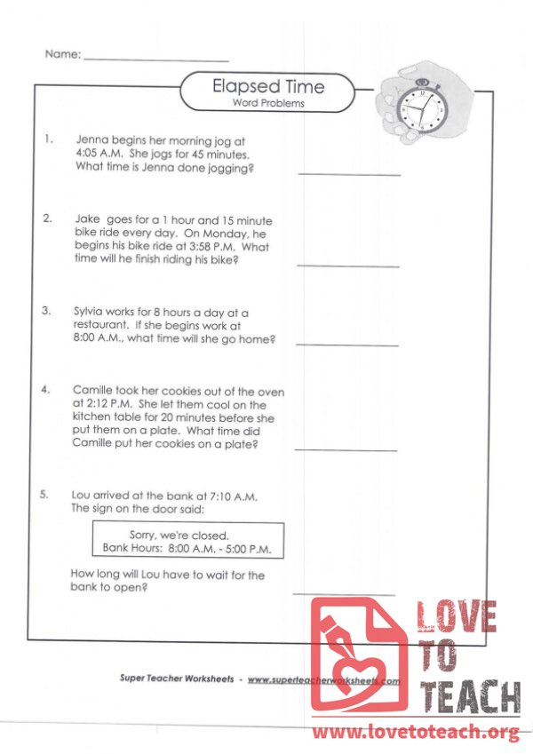 Elapsed Time Word Problems (B) (with Answer Key)