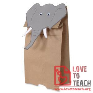 Paper Bag Elephant Puppet