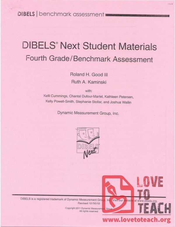 DIBELS Next Student Materials - Fourth Grade Benchmark Assessment