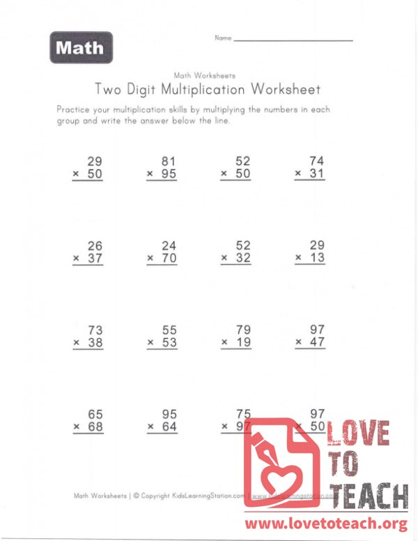 Two Digit Multiplication Worksheet (B) With Answers