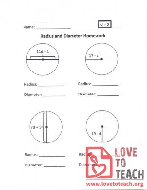 Radius and Diameter Homework (B) With Answers