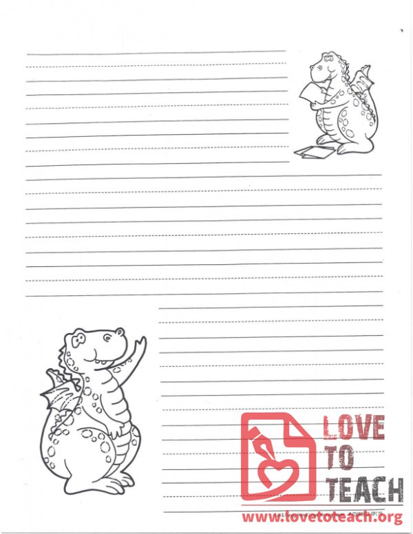 Lined Writing Paper Dinosaur