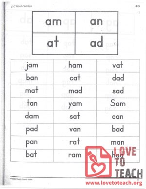 CVC Word Families: am, an, at, ad