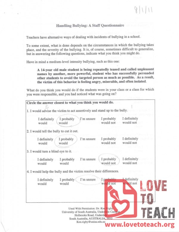 Handling Bullying - A Staff Questionnaire