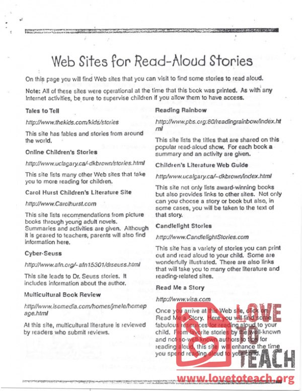 Web Sites for Read-Aloud Stories