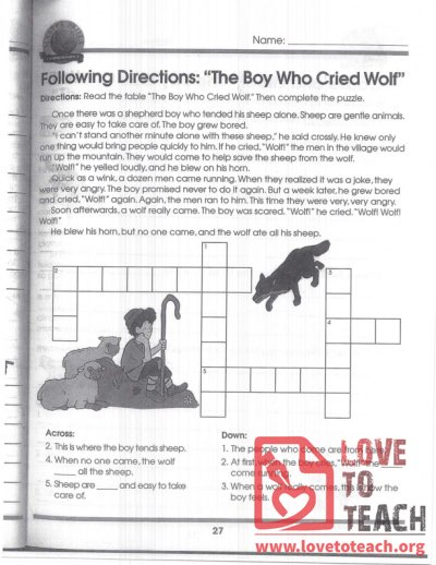 The Boy who Cried Wolf - Crossword Puzzle