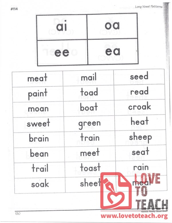Long Vowel Patterns - ai, oa, ee, ea