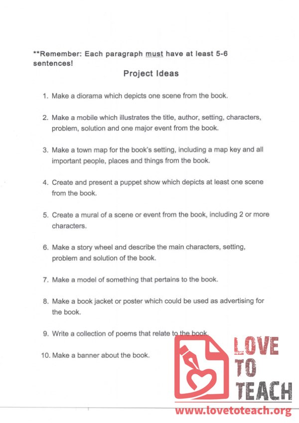 Book Report - Project Ideas