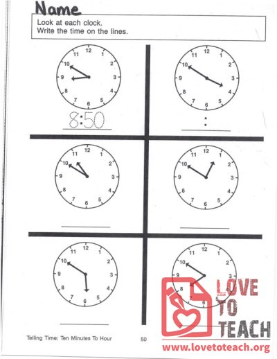Telling Time - Ten Minutes To Hour