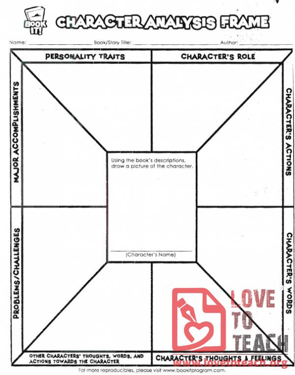 Character Analysis Worksheet | Lovetoteach.Org | Free Printable