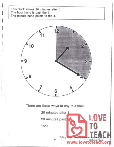 Telling Time - Twenty Minutes Past Hour - Teaching Page