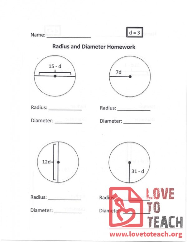 Radius and Diameter Homework (A)