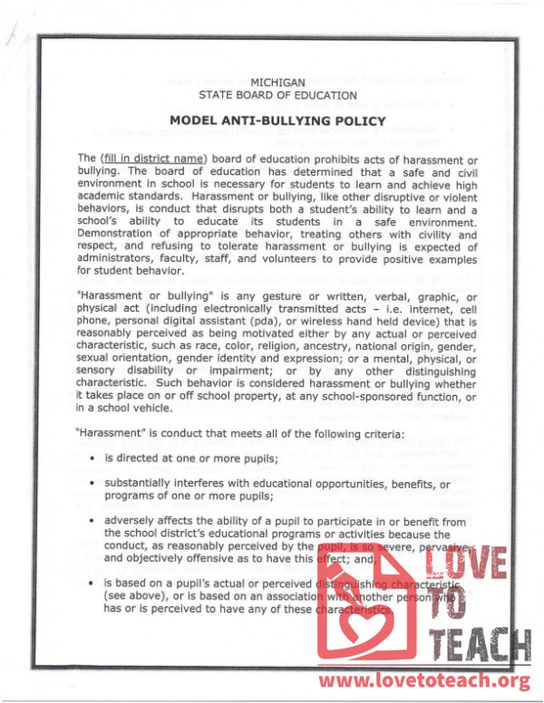 Model Anti-Bullying Policy