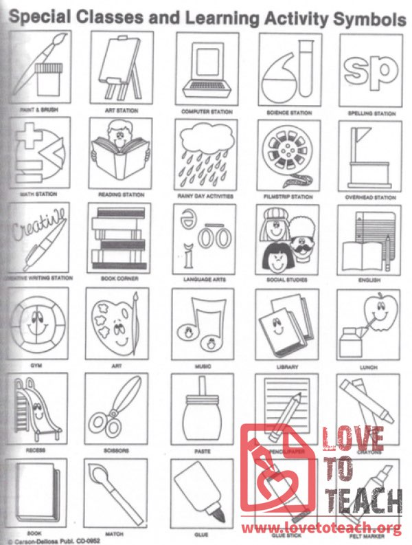 Special Classes and Learning Activity Symbols